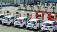 Elektroauto-Tankstelle in Peking in China