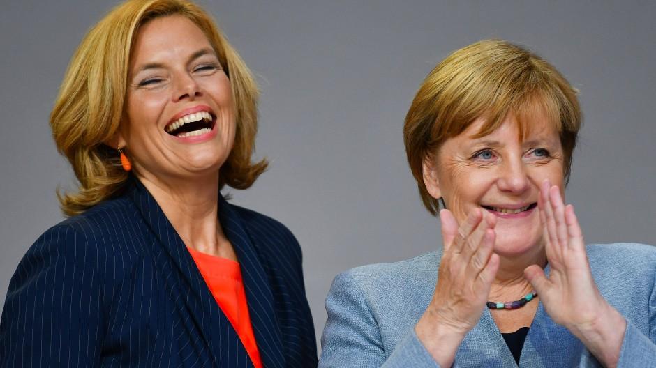 Julia Klöckner und Angela Merkel beim Wahlkampf in Neustadt