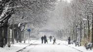 Frankfurt in weiß: Aufgrund von steigenden Temperaturen blieb der Schnee nicht lange liegen.