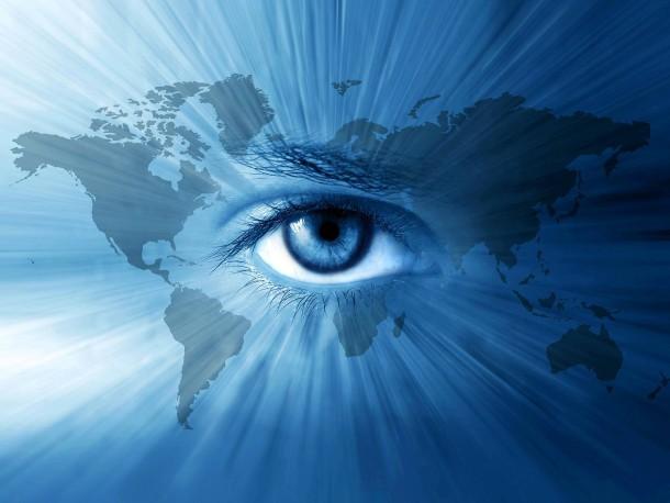 Kopie von World-map and  blue eyes