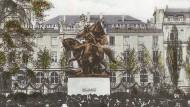 Das Bismarckdenkmal in Frankfurt auf einer Bildpostkarte aus dem Jahr 1909