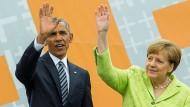 Realpolitik und Idealpolitik auf dem Kirchentag in Berlin: Angela Merkel und Barack Obama