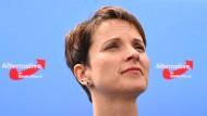Frauke Petry war ab 2013 eine von drei Parteisprechern, 2015 wurde sie nach monatelangem parteiinternen Streit wiedergewählt.