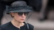 Maike Kohl-Richter kommt am 1. Juli 2017 nach dem Gedenkgottesdienst für ihren verstorbenen Mann aus dem Speyerer Dom.