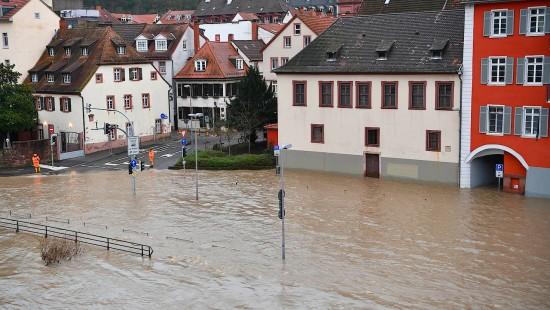 Hochwasser auch am Neckar