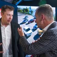 Tesla-Chef Elon Musk im Gespräch mit Volkswagen-Chef Herbert Diess