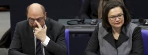 Nachdenklich: Martin Schulz und Andrea Nahles am Montag im Bundestag.