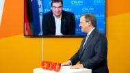 Bayerns Ministerpräsident Markus Söder und der nordrhein-westfälische Ministerpräsident Armin Laschet im Januar