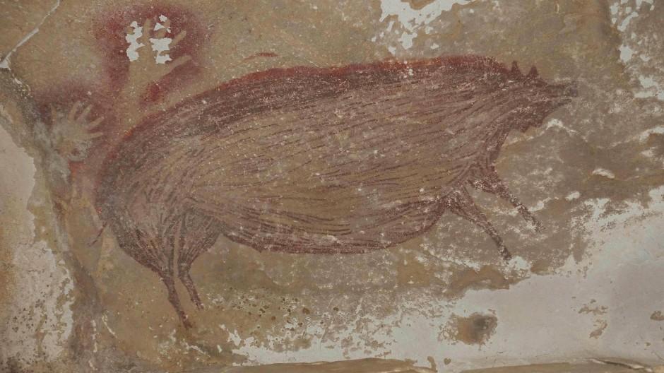 Ein Warzenschwein: Die vermutlich älteste Höhlenmalerei der Welt.