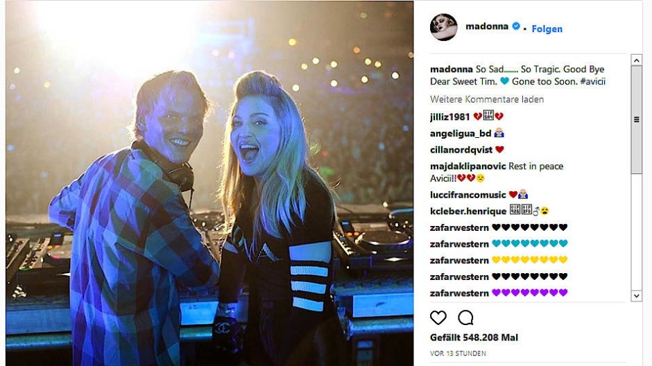 """Der DJ Avicii produzierte 2015 Madonnas Song """"Rebel Pray""""."""