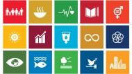 """Die farbenfrohen Symbole, die für die 17 Nachhaltigkeitsziele der Vereinten Nationen stehen, sind Teil eines größeren Aktionsplans: die """"2030 Agenda for Sustainable Development"""". Die Ziele umfassen Themen des Klimawandels, den Kampf gegen Armut und Hunger sowie menschenwürdige Arbeitsbedingungen."""