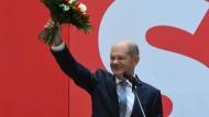 Der SPD-Kanzlerkandidat Olaf Scholz im Willy-Brandt-Haus