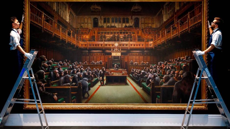 Provokante Tour: Banksys Parodie auf das britische Parlament