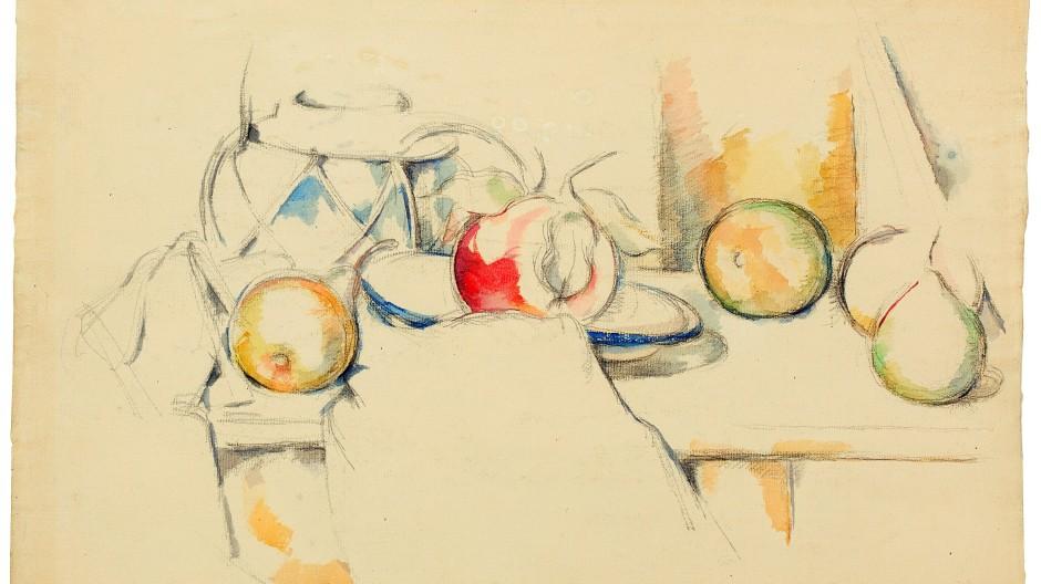 "Paul Cézanne, ""Pot à gingembre avec fruits et nappe"", 1888/90, Aquarell über Vorzeichnung in Bleistift, 31,6 mal 48,5 Zentimeter: Taxe 1,25 Millionen Franken"