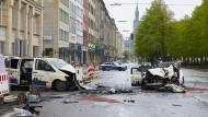 Ballindamm in Hamburg: Auch der mutmaßliche Unfallverursacher wurde schwer verletzt.