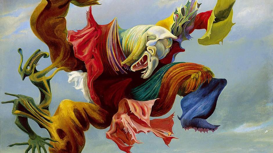 """Eine groteske Figur, ganz so wie Olaf Arndt in seinem Roman Deutschland imaginiert: Max Ernsts """"Der Hausengel"""" oder """"Der Triumph des Surrealismus"""