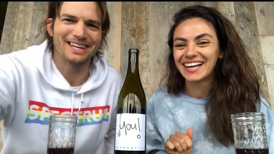 Wollen ausgerechnet in der Corona-Krise ihren 25-Euro-Wein verkaufen: Ashton Kutcher und Mila Kunis
