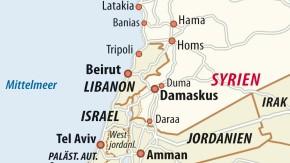 Karte / Syrien-Israel / Waffentransport