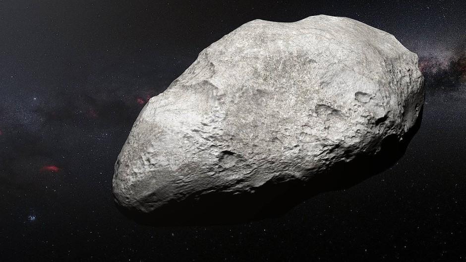 Hat Milliarden von Kilometern zurückgelegt, um vom Asteroiden- in den Kuipergürtel zu gelangen: künstlerische Darstellung des Asteroiden 2004 EW95