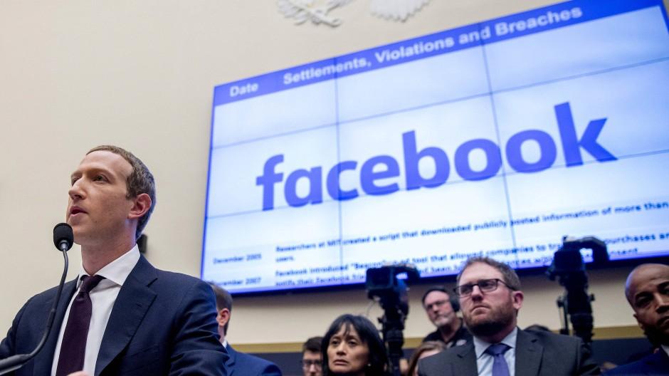 Facebook-Gründer Mark Zuckerberg in einer Anhörung im amerikanischen Kongress im Oktober 2019