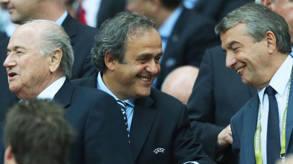 DFB-Präsident Wolfgang Niersbach und Michel Platini bei einem Länderspiel 2012