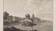 Tempel vor Dom: das Goethe-Denkmal auf der Main-Insel von Westen