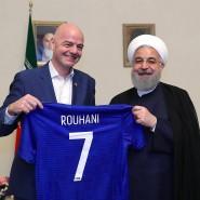 Fifa-Präsident Infantino mit dem iranischen Präsidenten Hassan Rohani