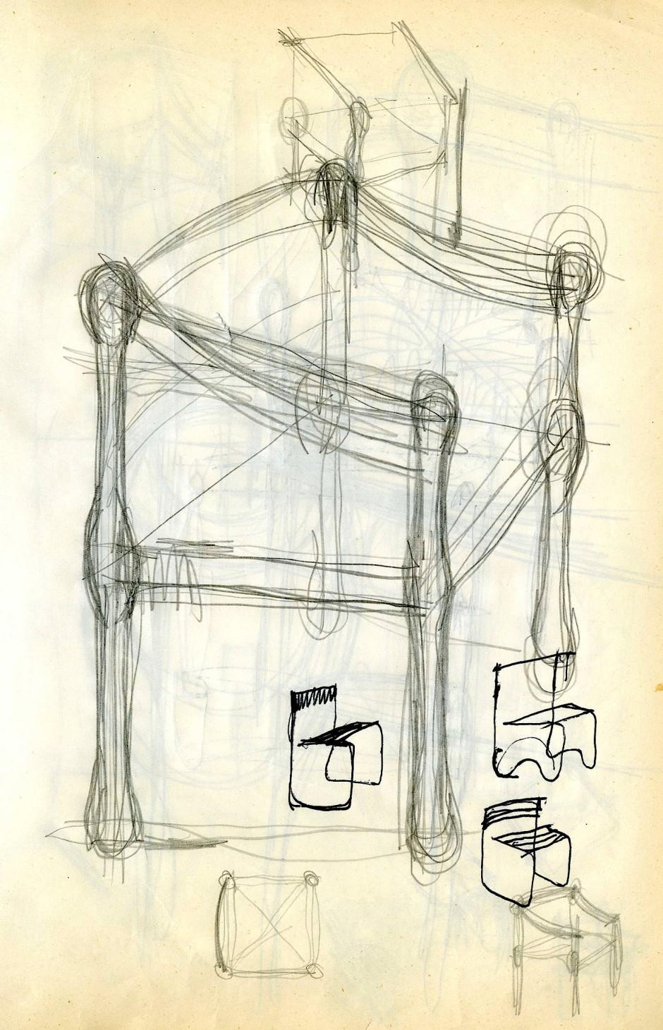 Entwurf für den Lehnstuhl Carimate von Vico Magistretti (1920–2006)