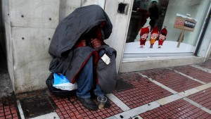 Homelessness on the streets of Athens as temperatures plunge