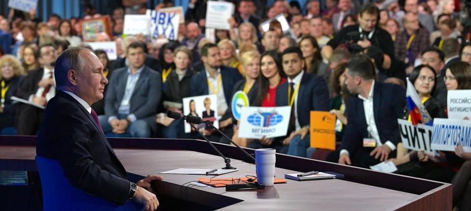 Gibt sich als kümmernder Landesvater: Putin auf seiner jährlichen Pressekonferenz