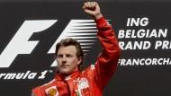 So gehts: Räikkönen bei seinem Sieg in Spa 2009 für Ferrari