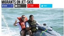"""""""Breitbart""""-Artikel über Schleuser, die Menschen per Jetski über die Meerenge von Gibraltar nach Spanien gebracht haben sollen."""