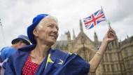 Eindeutige Entscheidung? Brexit-Gegner demonstrieren vor dem Parlamentsgebäude in London