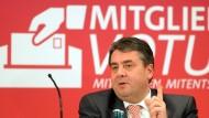 Sigmar Gabriel auf einer Regionalkonferenz der SPD zu den Koalitionsverhandlungen