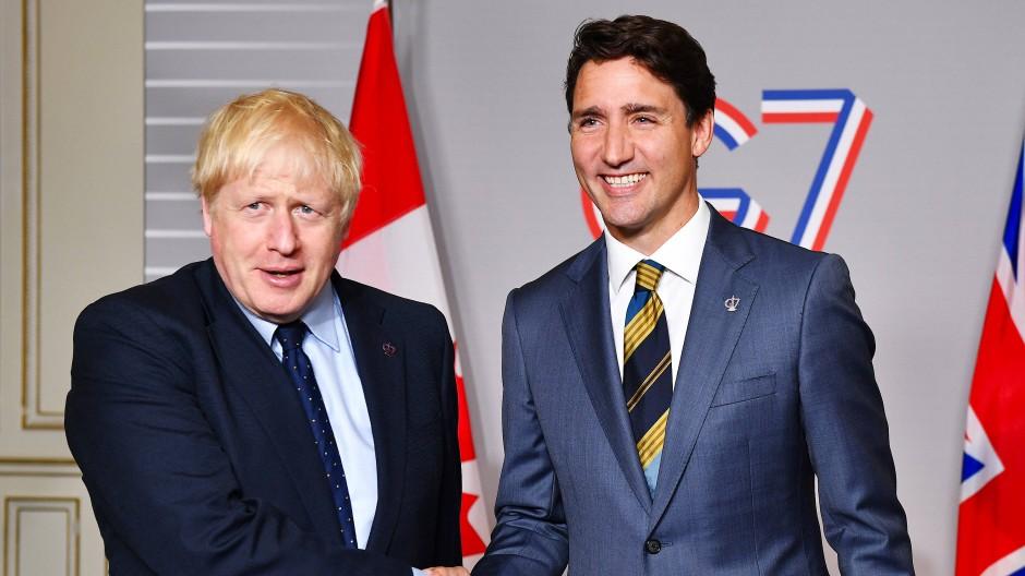 Boris Johnson und Justin Trudeau im August 2019 beim G7-Gipfel in London