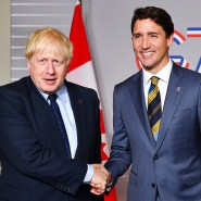 Boris Johnson und Justin Trudeau im August 2019 beim G7-Gipfel in London