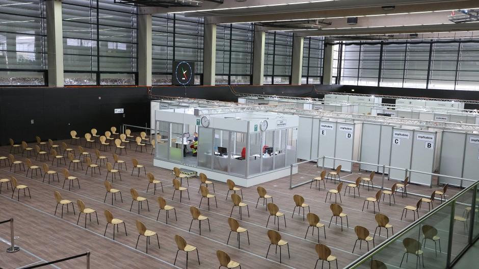 Impfzentrum in Gera, aufgenommen Mitte März.