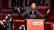 """Sahra Wagenknecht am Freitag in Berlin: """"Die Linke zu wählen, ist der einzige Weckruf, den man im Willy-Brandt-Haus hören wird."""""""