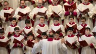 Der päpstliche Chor unter der Leitung von Monsignore Massimo Palombella bei einem Auftritt in Wittenberg