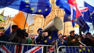 Brexit-Gegner protestieren vor der Abstimmung über den Brexit-Deal mit der EU vor dem Parlament.