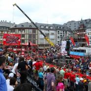 Remmidemmi vor städtischer Kulisse: Beim Ironman liegt das Ziel auf dem Römerberg.