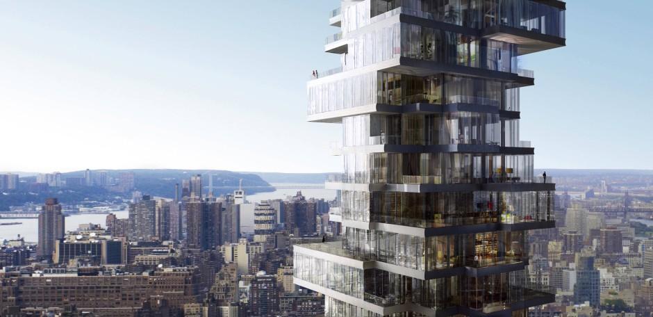 Durchbrochene Form: Entwurf eines Wohnhochhauses der Schweizer Architekten Herzog de Meuron im New Yorker Tribeca Viertel