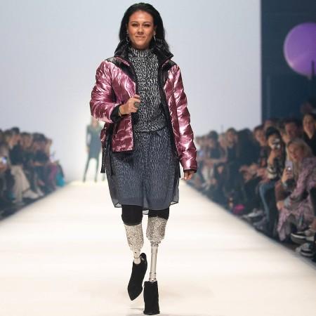 Giusy Versace eröffnet auf der Mercedes-Benz Fashion Week in Berlin die Show des Labels Sportalm Kitzbühel.
