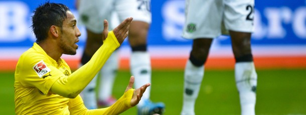 Am Boden in der Bundesliga: Borussia Dortmunds Pierre-Emerick Aubameyang