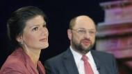 Sahra Wagenknecht und Martin Schulz in einer Talk-Show im Jahr 2012