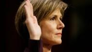 Die frühere stellvertretende Generalstaatsanwältin der Vereinigten Staaten, Sally Yates, sagt vor dem Senatsausschuss zur Russland-Affäre aus.