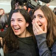 Große Freude: Syriza-Anhänger nach Bekanntwerden der ersten Prognosen in Athen