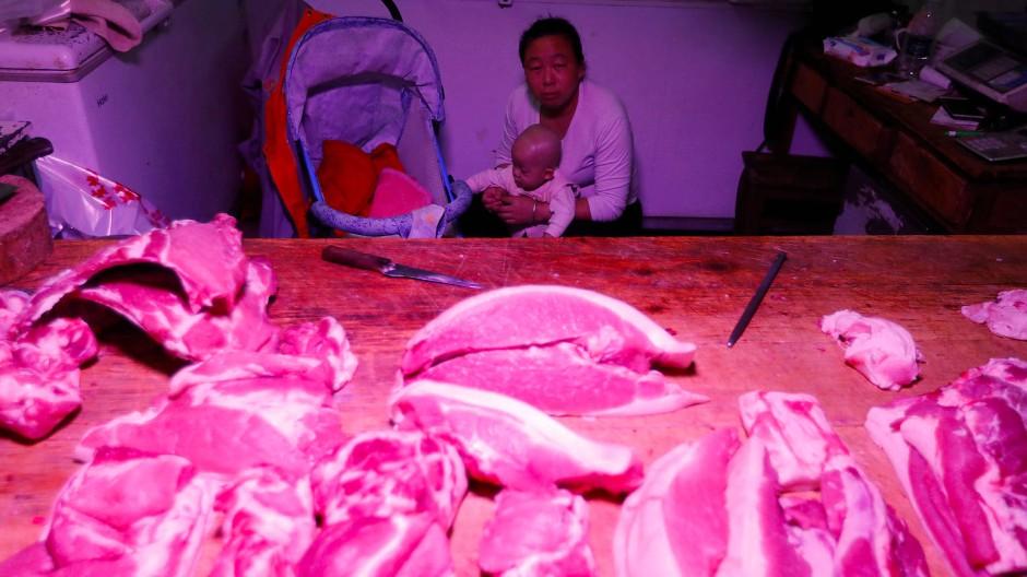 Teures Schweinefleisch: Verkaufsstand auf einem Markt in Peking