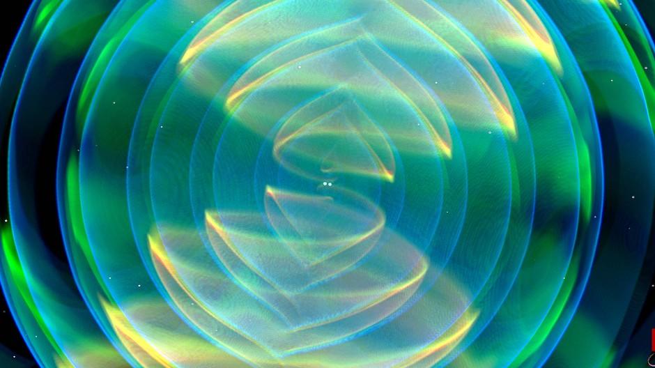 Numerische Simulation der Gravitationswellen, die bei der Verschmelzung zweier Neutronensterne abgestrahlt werden