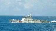 Ein chinesisches Schiff, fotografiert von der japanischen Küstenwache